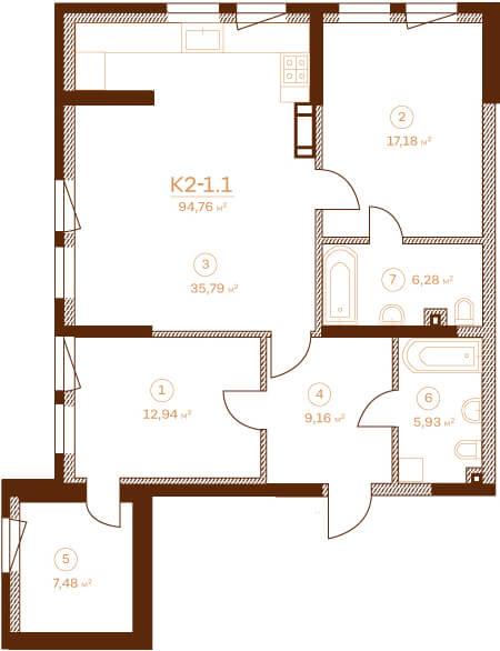 Квартира К2-1.