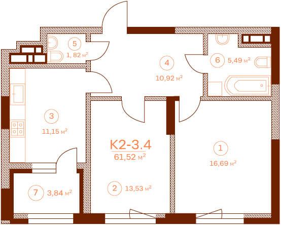 Квартира K2-3.4