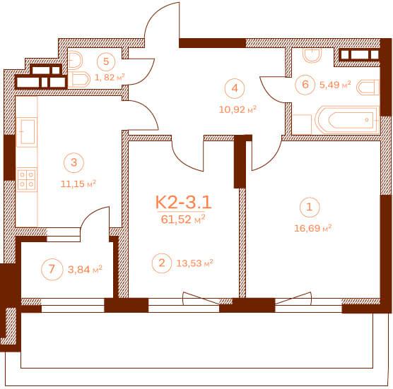 Квартира K2-3.