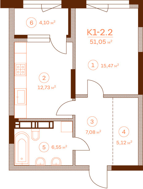 Квартира K1-2.2