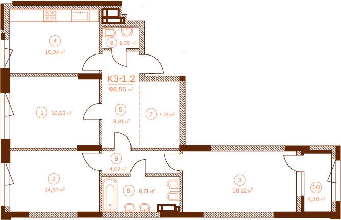 Квартира K3-1.2