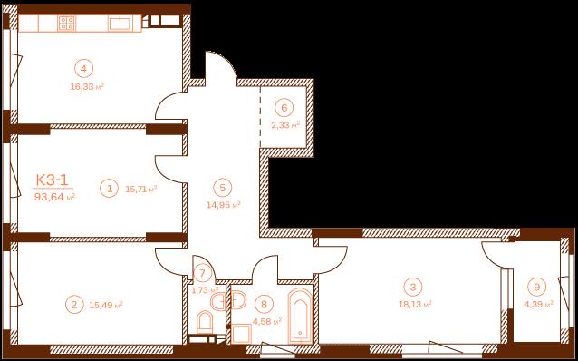 Квартира K3-1.