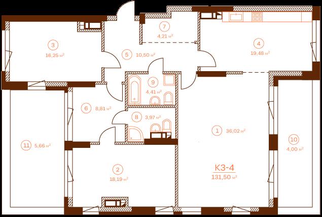 Квартира K3-4.