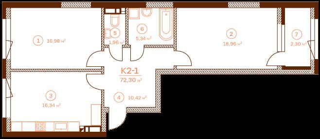 Apartment K2-1.